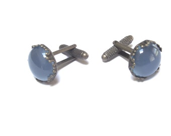 32 - L'Aquitaine 15mm Light Blue Chalcedony Cabochon in French Crown Cuff Links