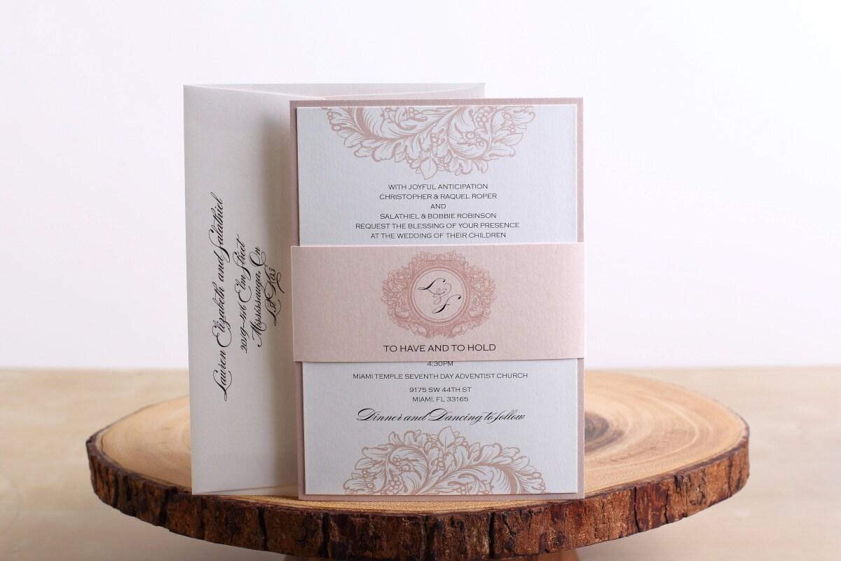 blush wedding invitations belly band wedding by sassyinvites