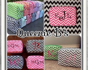 Monogrammed Chevron Cosmetic/ Make- Up Case