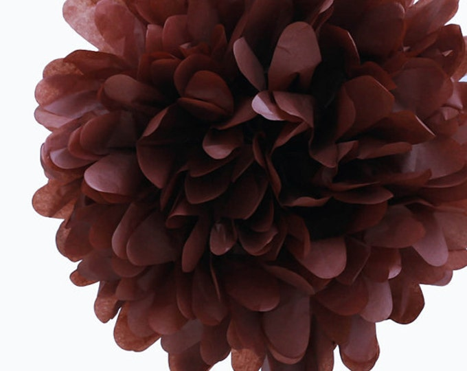 Brown Tissue Paper Pom, Brown Pom, Brown Tissue Paper Pom Pom, Brown Paper Flower, Tissue Flower, Wedding and Birthday Party Decor, Poms