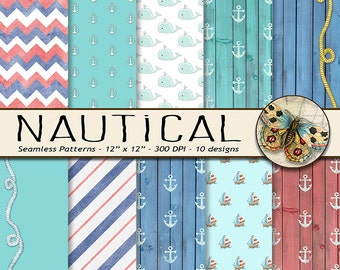 Nautical Digital Paper, Sailboat and Whale Digital Paper, Little Sailor Digital Paper, Wood Nautical Paper