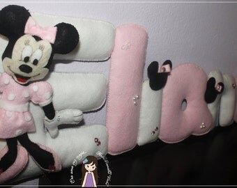 Minnie Felt Name Banner 5 letters * Baby's Room * Wall Decoration