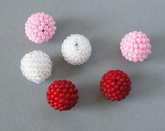 6 Handmade Beaded Beads