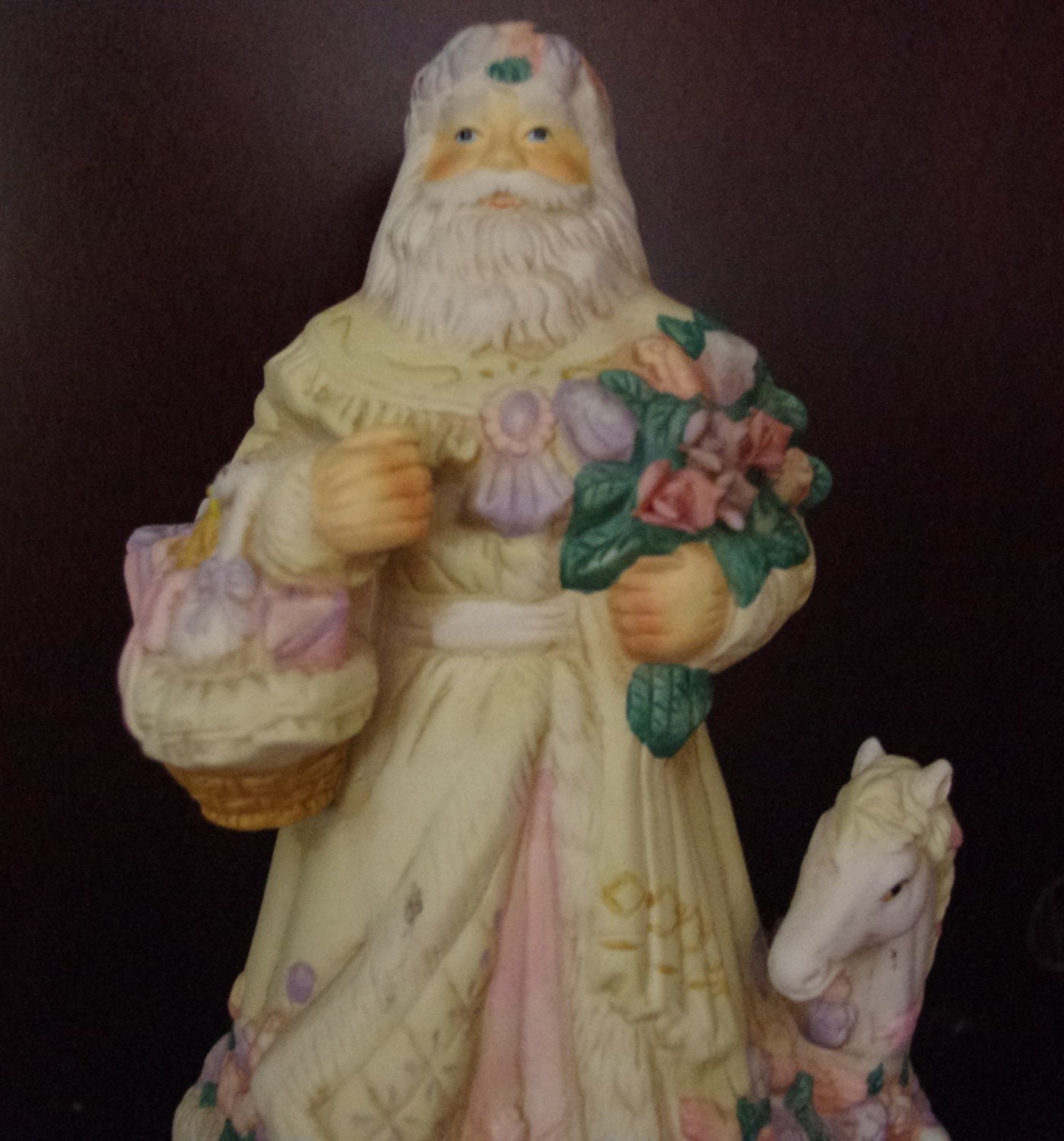 Vintage santa claus figurine with horse or pony music box
