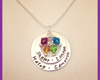 Hand stamped mothers or grandmothers necklace with birthstone 4 names