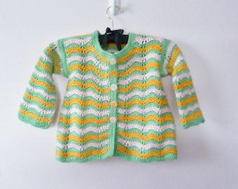 Striped Crocheted Toddler Coat - size 18 24 month