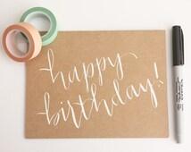 calligraphy birthday card // happy birthday