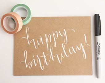 calligraphy birthday card // happy birthday