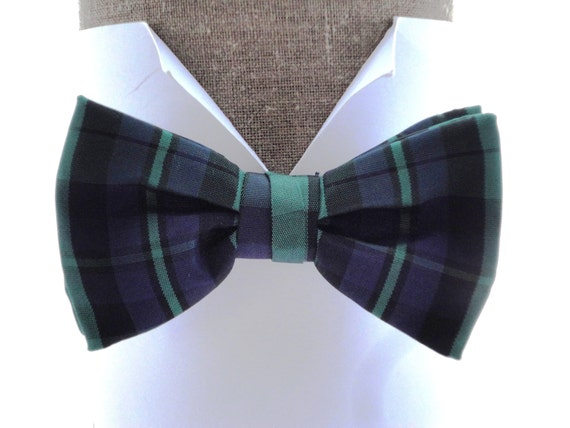 "Tartan Black Watch Bow Tie, pre tied bow tie, will fit neck size up to 20"" (50cms)"