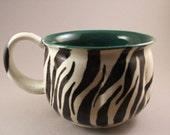 Emerald Green Zebra Print Mug reserved for Jenni Massaro--Trade