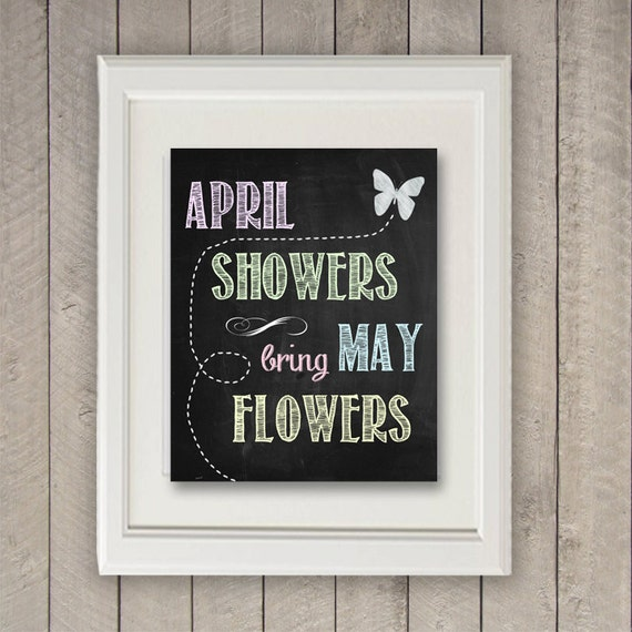 April Showers Bring May Flowers Spring Chalkboard: Items Similar To Springtime Art, Spring Chalkboard Art