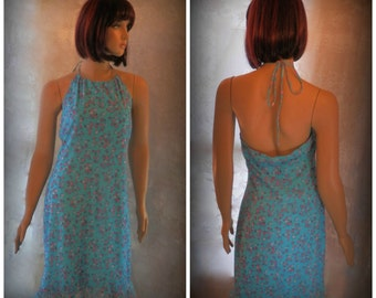 Vintage Halter dress, Womens Dress, Summer dress, Blue dress, Floral dress, Size Large dress