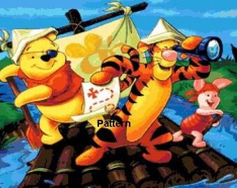 Winnie the Pooh pirate. Cross Stitch Pattern. PDF Files.