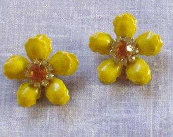Enamel Flower Clip On Earrings