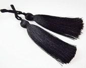 Long Black Silk Thread Tassels - 3 inches - 77mm - 2 pc