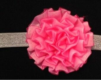 Pink Carnation Glitter Headband