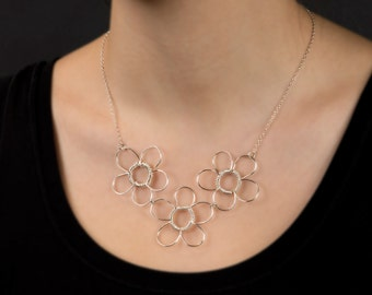 Sterling Silver 3 Flower Wire Wrapped Necklace, Statement Necklace, Graduation Gift, Bridesmaids Gift, Modern, Flower Necklace,
