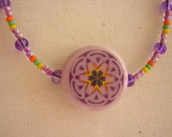 Ceramic Pendant on Beaded Chain