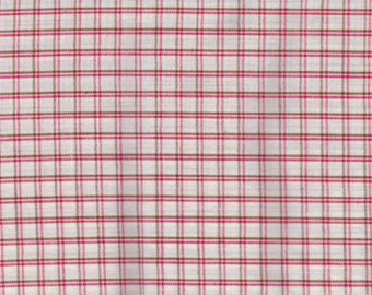 BY THE PIECE Red and White Woven Check Checked Fabric Reproduction Historical Quilting Cotton Doll Clothes Past Crafts 18th 19th Century