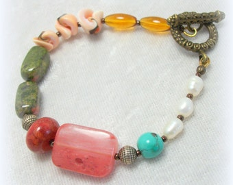 Gypsy Boho Beaded Bracelet - Pearl Coral Agate Shell Turquoise Semi-precious Stone by Cindy Caraway