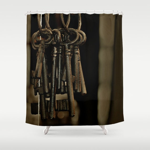 Rustic Brown Hanging Keys Shower Curtain Washable Fabric
