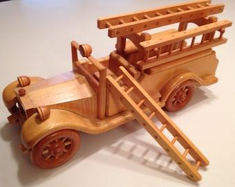 Model wood Fire truck