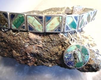 Los Castillo Mozaico Azteca Sterling Bracelet with Letter 'M' Charm