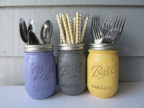 Painted and Distressed Ball Mason Jars- Yellow, Gray and Light/Pastel Purple-Set of 3-Flower Vases, Rustic Wedding, Centerpieces