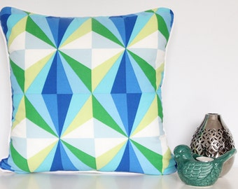 Blue mix cushion cover with white piping and back - 45cm x 45cm