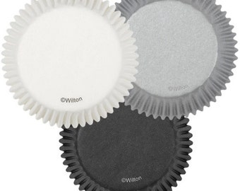Black, White, Silver Wilton Standard Cupcake Liners Baking Cups Muffin Cups