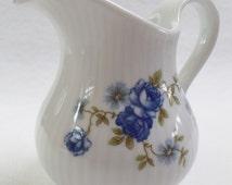 Seltmann and Weiden creamer, Bavarian milk jug, pattern blue roses, German Porcelain milk pitcher,Bavarian China creamer, coffee
