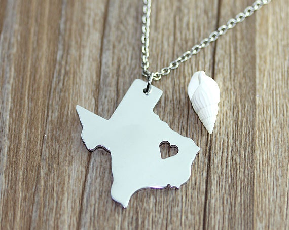 I heart  Texas Necklace - Texas Map Pendant - State Necklace - State Charm - Map necklace - Map Jewelry
