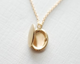 Gold Locket Necklace- Heirloom Locket, Dainty Locket Necklace, Gold Locket Gift Simple Everyday Jewelry by HeirloomEnvy