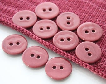 """10 Large Pomegranate Red Ceramic Buttons (27 mm / 1.1"""")"""