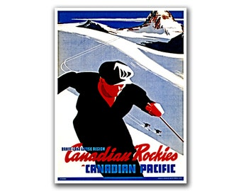 Skiing Sports Art Canada Travel Poster Vintage Ski Print (H199)