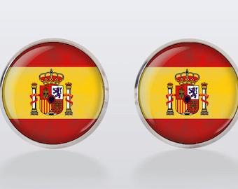 cufflinks Spanish Flag,Vintage Cuff Links, Spanish vintage flag cuffs, perfect gift, gift idea, Spain,men cuff links,vintage, vintage style