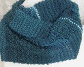 Hand knit infinty scarf Cowl Blue neck wrap Shades of blue Knit with metallic thread Blue and silver Unique knits Scarves for women Fashion