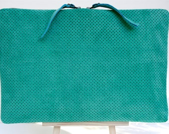 Handmade Large Portfolio Clutch/ iPad case in Perforated Green/ Mint leaf Suede with a Double Zip