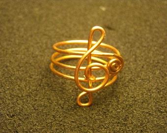 ANELLO CHIAVE VIOLINO Gioiello Argento Nichel-Free Handmade Italy Musica tra le dita Argento Rame Ottone Lovely Ring Dono Amore Musicale