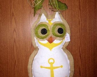 Burlap owl door hanger
