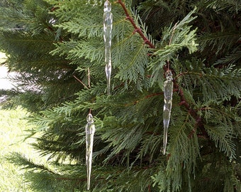 Set of 6 Hand Blown Icicle Glass Ornaments.