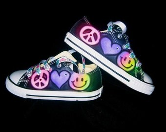 airbrushed peace love rainbow smile far converse
