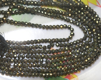 14 Inch Strands,New Golden Mystic Black Spinel Micre Faceted Rondelles,3.5mm