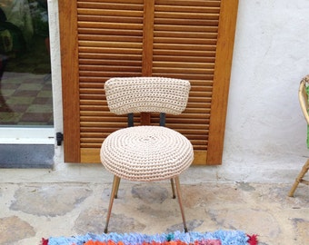 vintage chair, armchair with a handmade crochet cover