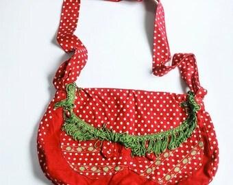 Retro strawberry red messenger bag