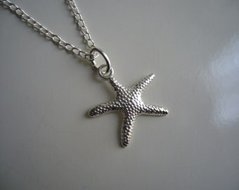 Star Fish Necklace - Antique Silver Star Fish Necklace - Star Pendant Charm - Miniature Star Fish- Nickel Free