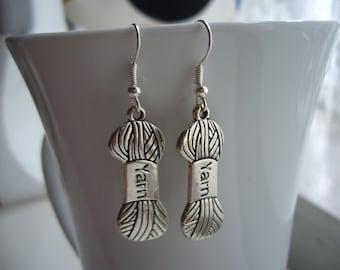 Ball Of Yarn Earrings - Antique Silver Yarn Charm Earrings - Miniature Yarn Earrings - Knit/ Crochet Lovers Earrings - Nickel Free