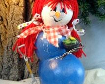 Hand painted gourd art Raggedy Ann snowman by Debbie Easley