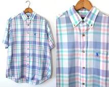 popular items for pastel plaid shirt on etsy. Black Bedroom Furniture Sets. Home Design Ideas