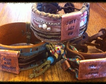 Recycled Custom Boho Leather Cuff